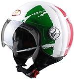 BHR 49838 Casco Demi-Jet, Taglia S, Bandiera Italia, Bianco