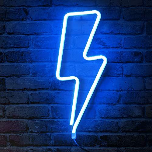 Criacr Neon Nachtlicht, LED Lightning Sign Neonlicht Dekor Licht, Wand-Dekor für Weihnachten, Batterie oder USB betrieben Licht Dekoration für Zuhause, Kinderzimmer, Bar, Party (Blau)