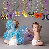 Sayala 30 Piecs Décorations de fête de Papillon Suspendus Swirl - Fournitures de fête de Papillon Anniversaire/fée Fournitures de fête de fête d'anniversaire/fée/décor de Chambre Papillon