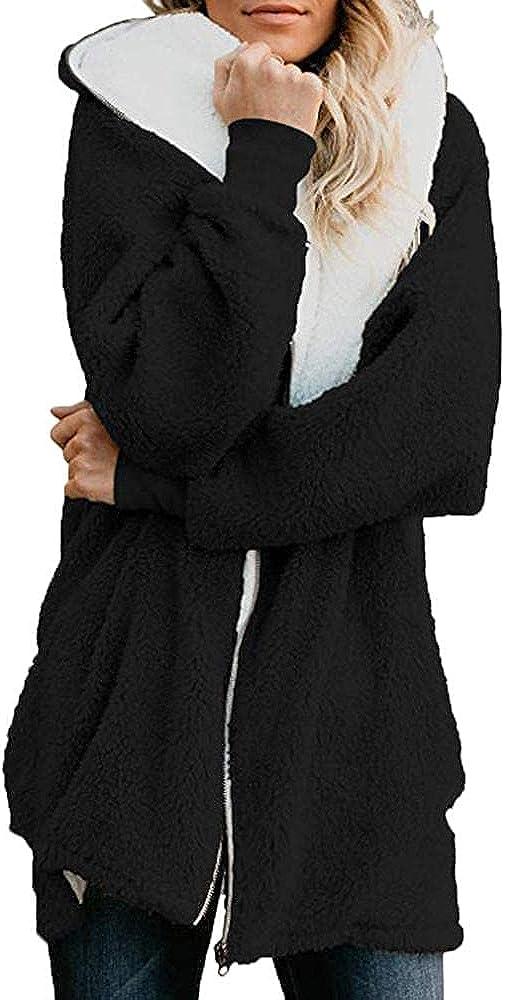 Women's Hooded Zip-Up Coat Overcoat Fluffy Fleece Plain Fall/Winter Cardigans Outwear With Pockets Oversized Windbreaker
