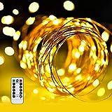 LED イルミネーションライトurlife LEDストリングスライト 100球 10m 8種光るパターン 電池式 水を防ぎ フェアリーライト タイム設定付 調光可能 リモコン付属 屋内・屋外兼用 新年 バレンタインデー 贈り物 (銅線ウォームホワイト)