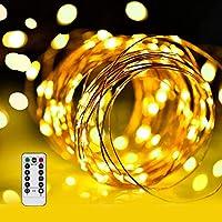 LED イルミネーションライトurlife LEDストリングスライト 100球 10m 8種光るパターン 電池式 水を防ぎ フェアリーライト タイム設定付 調光可能 リモコン付属 屋内・屋外兼用 クリスマス 新年 バレンタインデー 贈り物