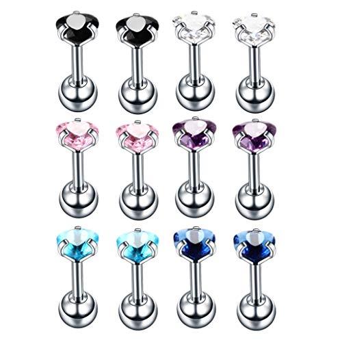 joyMerit 12 Piezas de Cristal de Acero Inoxidable Circonita Cúbica Hélice Labio Tragus Pendientes 16g - Corazón