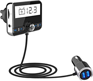 ZYG.GG FM Transmitter for Car Bluetooth Audio Adapter & Receiver Wireless Handsfree Calling Car Kit, with 2.4 Inch Large Screen, with MP3 Player Dual USB Ports