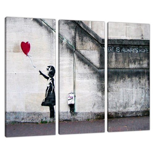 Set of 3 Large Banksy Canvas Wall Art Prints UK Red