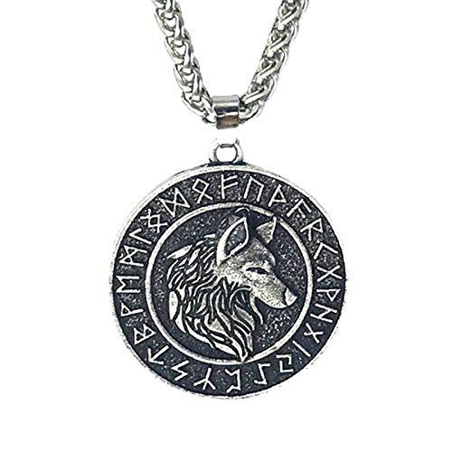 Wen XinRong Norse Viking Necklace Odin's Celtic Wolf Pendant Necklace Nordic Viking Runes Amulet Talisman Pendant Necklace for Men Women