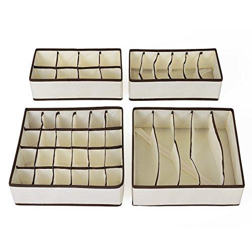 SONGMICS Aufbewahrungsbox für Unterwäsche, 4er Set, Schubladen-Organizer, für Kleiderschrankschubladen, Divider für Socken, BHS und Krawatten, Faltbox, Stoffbox für Schrank, beige RUS04M