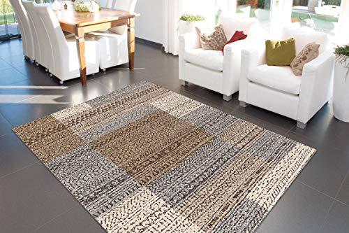 One Couture Arte Espina Teppich Quadrat Viereck Kästchen Rechteck Grau Beige Braun 133x190, MD2-3460