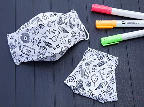 Kinder Mund-Nasen-Behelfsmaske zum selber bemalen - mit Nasenbügel