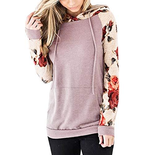 MRULIC Damen Bluse Nahtfarbe Sweatshirt Langarm Kurzarm Pullover Tops Sport Shirt Fashion Streetwear Stickerei Drücken Hoodies Pullover(Rosa,S)