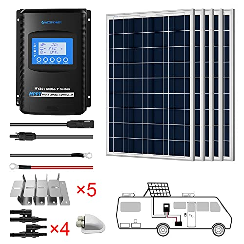 ACOPOWER 500 Watts 12/24 Volts Polycrystalline Panel Solar RV Kits with 40A MPPT LCD Charge Controller/Mounting Brackets/Y Connectors/Solar Cables/Cable Entry housing