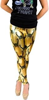Marvel Loki All Over Helmet Print Gold Foil Juniors Leggings