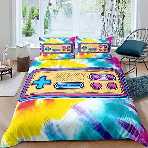 Gamepad Bettwäsche-Set für Kinder, Jungen, Mädchen, Teenager, bunt, Batik-Bezug, atmungsaktiv, Gamer-Tagesdecke, Boho-Deko, Doppelbettgröße