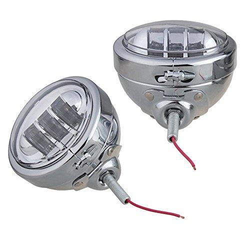 Esyauto Nebelleuchten, 2 Stück, rund, 123 x 123 x 70 mm (4,5 Zoll), CREE-LED-Nebelscheinwerfer, 30 W, mit Scheinwerferaußenschalen, für Motorräder