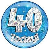 Islander Fashions Ni�as Ni�os Jumbo Birthday Party Insignias Unisex Pink Blue Todas Las Edades Birthday Badge One Size Blue Cracked 40 Years One Size
