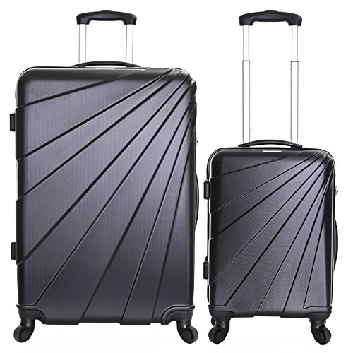Slimbridge Luggage Set of 2 Hard Shell ABS Suitcases Carry On and Extra Large 4 Wheels Number Lock, Fusion Black