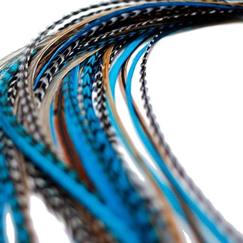 Lot de 20 extensions de cheveux en plumes véritables avec anneaux et boucle Bleu naturel 28-33 cm