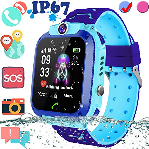 Upgrade Waterproof Kid Smart Watch GPS Tracker, Touch Screen Phone Smartwatch with SIM Slot Game Anti-Lost SOS Camera Voice Chat Smart Wrist Watch for Kid Great Christmas Birthday Gift for 4-12 Year