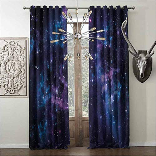 Tapesly Blackout-Curtains, Space Noise reducing, for Nursery Kindergarten, W108 x L84 Inch, Dark Purple and Blue, Mystical Sky with Star Clusters Cosmos Nebula Celestial Scenery Artwork,