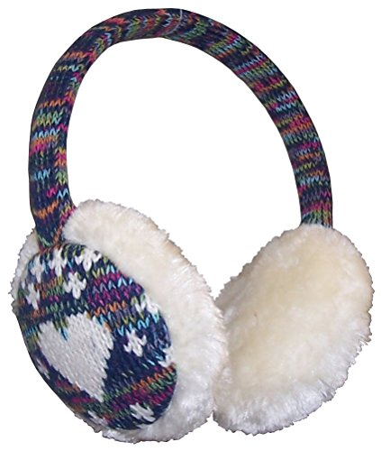 N'Ice Caps Girls Faux Fur Ear Muff with Knitted Heart Design (One size fits all, Winter White Hearts)