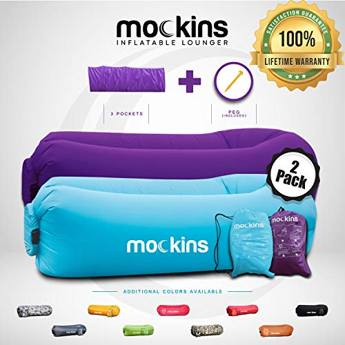 Mockins 2 Pack Blue & Purple Inflatable Lounger Hangout Sofa Bed with Travel Bag Pouch The Portable Inflatable Couch Air Lounger is Perfect for Music Festivals Or Camping Accessories