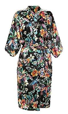 ECHERY Women's Vintage Floral Bathrobe Satin Kimono Robe Long Nightwear Dressing Gown