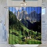 Trelemek Cortina de ducha de los Alpes austriacos, 183 x 183 cm, impermeable, con 12 ganchos de plástico, lavable
