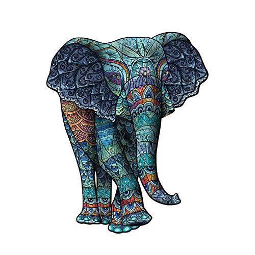 Elefante tribale puzzle in legno forma unica pezzo animale per adulti e bambini, 105 pezzi