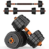 BOSWELL Adjustable Weights Dumbbells Set, 44lbs 2 in 1 Weights Barbell Dumbbells Non-Slip Neoprene Hand with Connecting Rod for Adults Women Men Fitness,Home Gym Exercise Training Equipment YA018