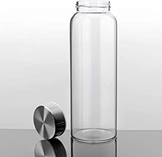 Kablo Glass Water Bottle 32 or 21 oz, 100% Borosilicate Glass, BPA Free, Leak-Proof Stainless Steel Lid, Wide Mouth, Eco-Friendly