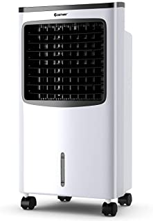 FANTASK Portable Air Cooler, Electric Air Cooling Machine with 3 Modes, 3 Speeds and Timer Function, Cooling Fan with Digital Display, Ice Crystal Box and Large Water Tank, Idea for Home Office