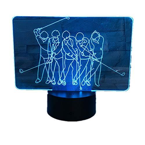 KangYD 3D Nachtlicht Golfspieler, LED Kreative Tischlampe, Neuheit Geschenk, LED Beleuchtung, Liebhaber Geschenk, Basteln,3 - Berühren Sie Crack White (7 Farben)