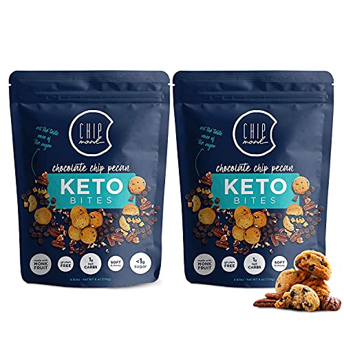 ChipMonk Keto Cookie Bites – Delicious, Low Carb, Diabetic Friendly, 1g Net Carb, Gluten Free, Sugar Free Keto Bites Sweetened with Allulose & Monk Fruit (Chocolate Chip Pecan, 2 Pouches (16 Bites))