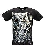 CABALLO Camiseta de Hombre Mujer Unisex en algodón Estampado Efecto de luz en la Oscuridad con Motivo Animal (Owl MA-234 M)