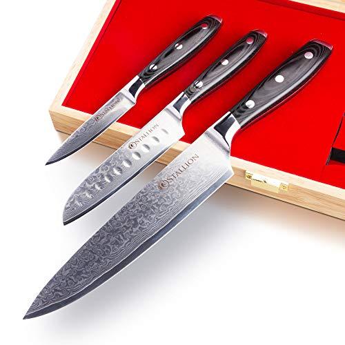 Stallion Damastmesser Wave 3er Messerset - Kochmesser, kleines Santokumesser und Officemesser aus Damaststahl in Edler Geschenkbox