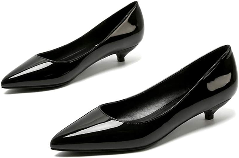 Ladies shoes Black Pumps Patent Leather 3CM Low Heel shoes Nude Office shoes Elegant Noble Charm