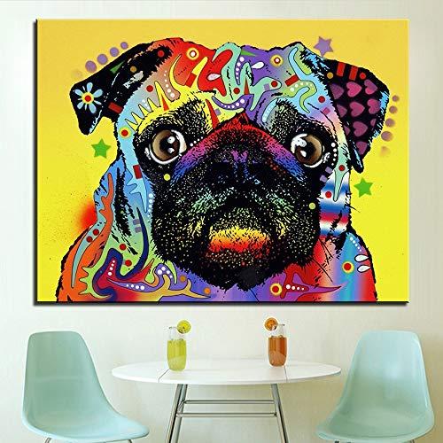 Rahmenlose Malerei Ölgemälde Mops Hund Hauptdekoration Wandkunst Malerei Wohnzimmer DekorationZGQ3965 50X75cm