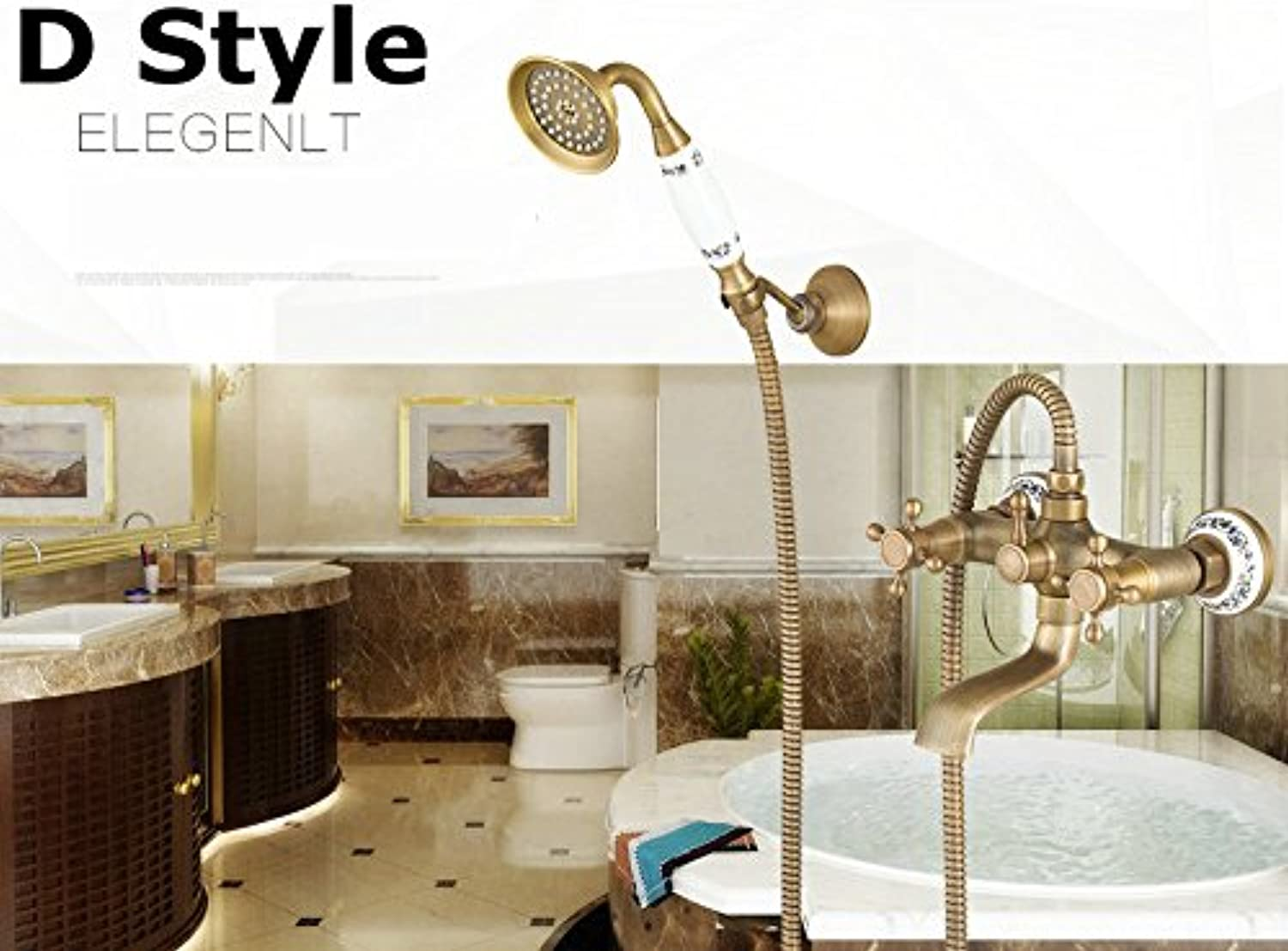 Maifeini Faucet, Faucet, Faucet, Faucet, Faucet, Faucet Antique Brushed Brass Bathtub Mixer Wall Hung Bathroom Basin Mixer Tap Crane With Hand Shower Head Shower And Bathtub Mixer Style