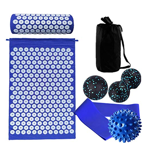 JGRH Indoor Yoga Ball Indoor Fitness Ball Massager Cushion Massage Yoga Mat Yoga Ball Acupressure Relieve Stress Back Body Pain Spike Mat Acupuncture Mat Fitness Training (Color : Blue)