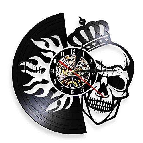 Colorful 1Piece Skull Wearing Crown LED WallNight Lamp Death King Vinyl Record Clock Decorative Quartz Handmade Clock 12 Inches