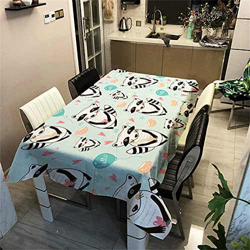 Patrón De Vaca Animal De Dibujos Animados Decoración Rectangular De La Sala De Estar Poliéster Mantel Impermeable Mantel De Cocina Antiincrustante Mantel De Mesa De Café De Restaurante 140x180cm