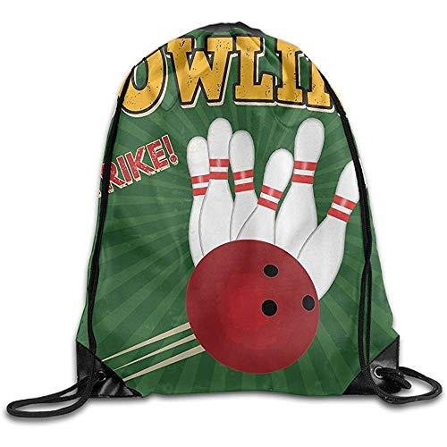 huatongxin Tote School Rucksack,Drawstring Backpack,Unisex Schultertasche,Leichte Sporttasche,Bowling Balls and Pins Design Gym Sack Bag,Travel String Pull Bag,Sport Cinch Pack