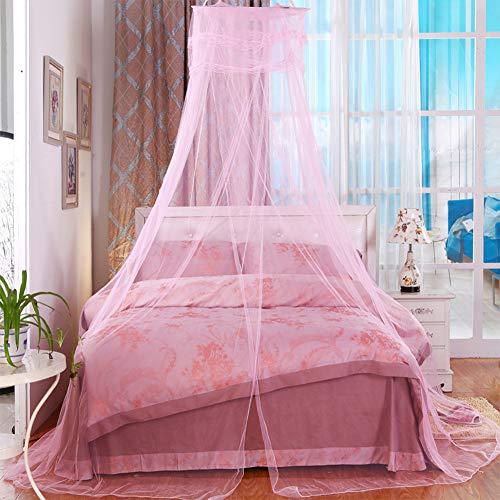 AIMTOP Moskitonetz Bett, Prinzessin Moskitonetz Mückennetz für Reise und Zuhause, Moskitonetz Bett Insektennetz Betthimmel für Doppelbett & Einzelbett, inkl. Klebehaken, Höhe 260 cm, Rosa