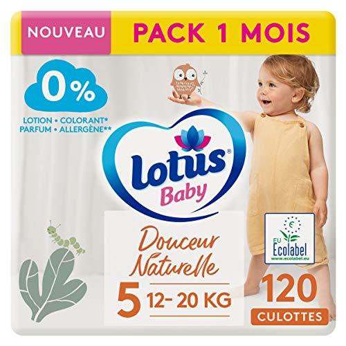 LOTUS BABY Douceur Naturelle - Culottes Taille 5 (12-20 kg) Pack 1 mois - 120 culottes