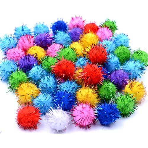 STOBOK 200pcs Bunte sortierte DIY Pom Poms DIY Glitter Pompons liefert Flauschige Bälle handgemachte Plüschbälle Handwerk für Kinder Kinder