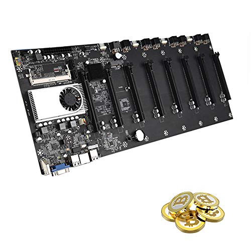 Latady BTC-37 Mining Motherboard, Mining Machine Motherboard CPU 8 Video Card Slots DDR3 Memory Integrated, VGA Interface Low Power Consume for Mining Machine (470195mm)