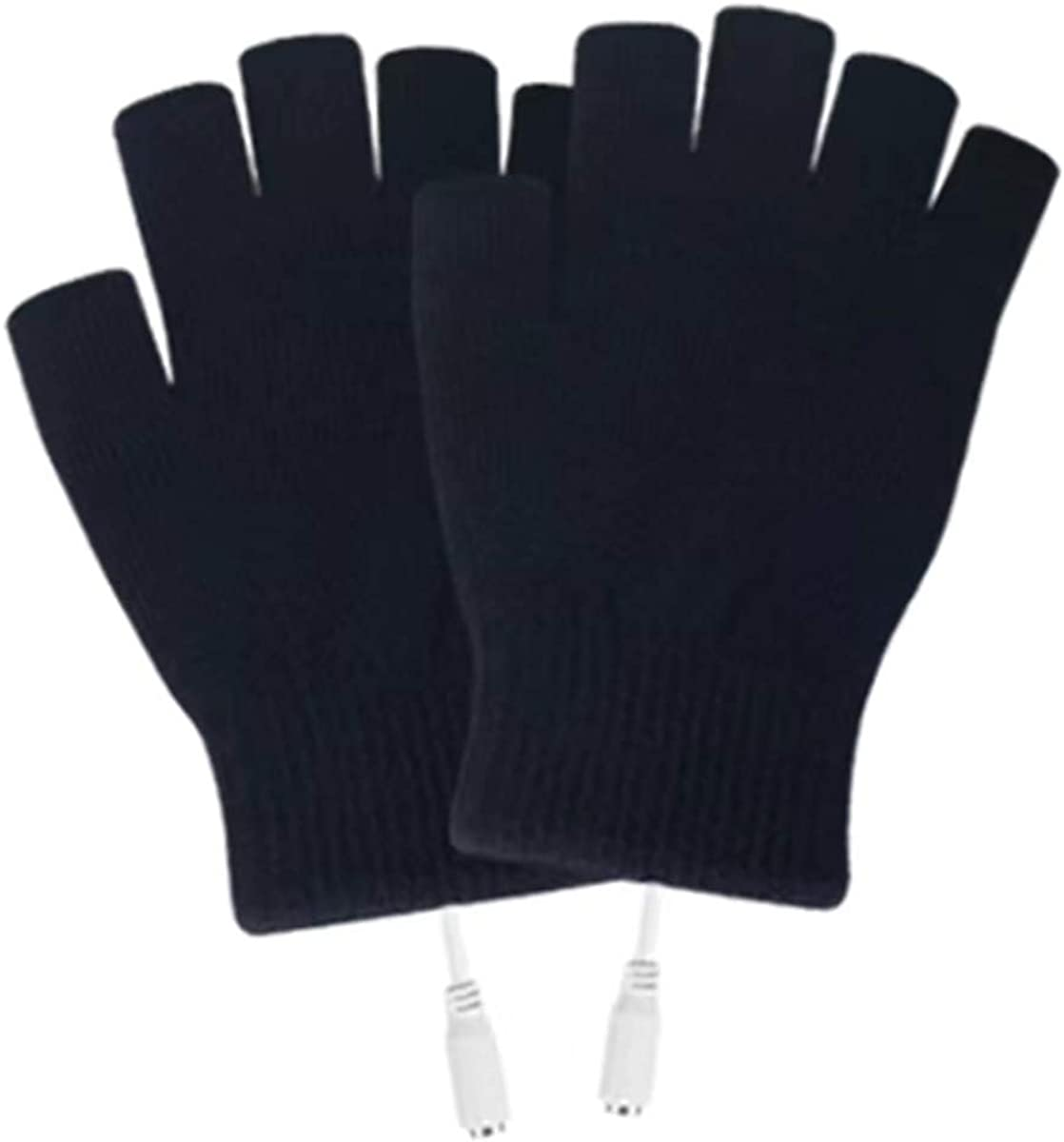 USB Heated Mittens, Fingerless USB Heating Warm Hot Hands Electric Heated Gloves, Knitted Laptop Gloves with Finger Cover for Typing Hiking Cycling