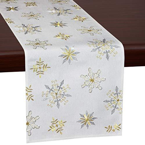 Grelucgo Tischläufer mit Schneeflocken, bestickt, kurz, 35,6 x 86,4 cm