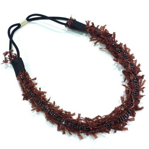 rougecaramel Haarband–Modell aus Stoff Fantasie mit Kette Mitte–Burgunderrot
