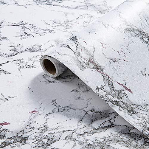 LEISIME Klebefolie Marmor, Möbelfolie Selbstklebende Folie Wasserdichte Abnehmbare PVC Wandschutzfolie Dekofolie für Möbel Wand Küche Schrank 45 x 500cm